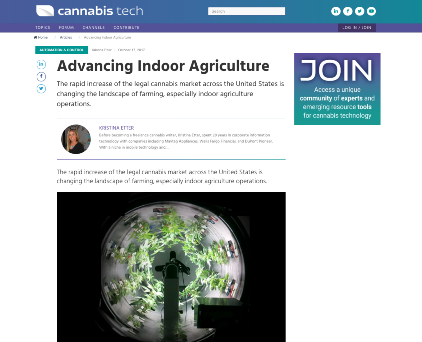 Advancing Indoor Agriculture Cannabis Tech