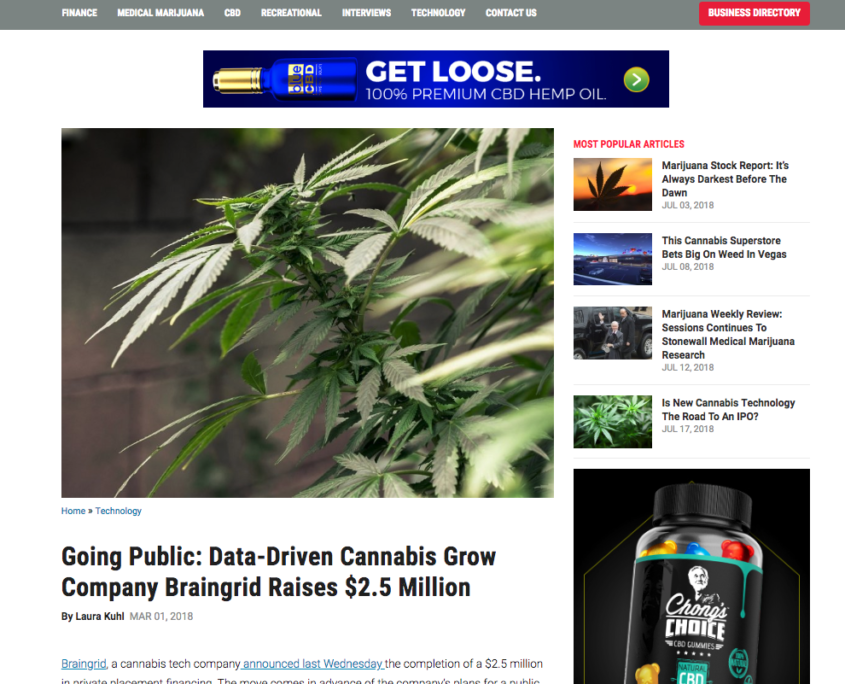 Going Public Data Driven Cannabis Grow Company